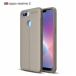 Luxury Auto Focus Litchi Texture Silicone TPU Back Cover for Oppo Realme 2 - Gray