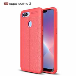 Luxury Auto Focus Litchi Texture Silicone TPU Back Cover for Oppo Realme 2 - Red