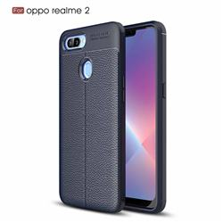 Luxury Auto Focus Litchi Texture Silicone TPU Back Cover for Oppo Realme 2 - Dark Blue