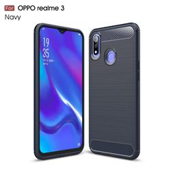 Luxury Carbon Fiber Brushed Wire Drawing Silicone TPU Back Cover for Oppo Realme 3 - Navy