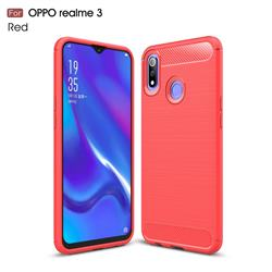 Luxury Carbon Fiber Brushed Wire Drawing Silicone TPU Back Cover for Oppo Realme 3 - Red