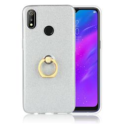 Luxury Soft TPU Glitter Back Ring Cover with 360 Rotate Finger Holder Buckle for Oppo Realme 3 - White