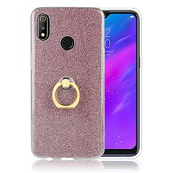 Luxury Soft TPU Glitter Back Ring Cover with 360 Rotate Finger Holder Buckle for Oppo Realme 3 - Pink