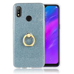 Luxury Soft TPU Glitter Back Ring Cover with 360 Rotate Finger Holder Buckle for Oppo Realme 3 - Blue