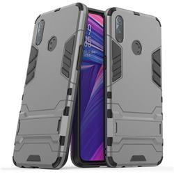 Armor Premium Tactical Grip Kickstand Shockproof Dual Layer Rugged Hard Cover for Oppo Realme 3 - Gray