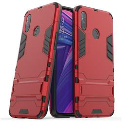 Armor Premium Tactical Grip Kickstand Shockproof Dual Layer Rugged Hard Cover for Oppo Realme 3 - Wine Red