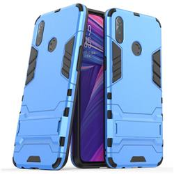 Armor Premium Tactical Grip Kickstand Shockproof Dual Layer Rugged Hard Cover for Oppo Realme 3 - Light Blue