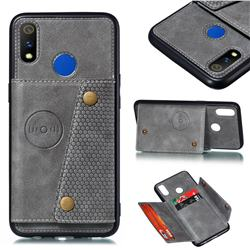 Retro Multifunction Card Slots Stand Leather Coated Phone Back Cover for Oppo Realme 3 - Gray