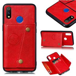 Retro Multifunction Card Slots Stand Leather Coated Phone Back Cover for Oppo Realme 3 - Red