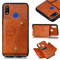 Retro Multifunction Card Slots Stand Leather Coated Phone Back Cover for Oppo Realme 3 - Brown