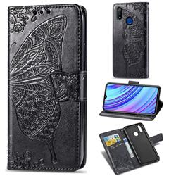 Embossing Mandala Flower Butterfly Leather Wallet Case for Oppo Realme 3 - Black