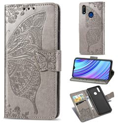 Embossing Mandala Flower Butterfly Leather Wallet Case for Oppo Realme 3 - Gray