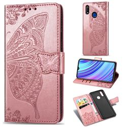 Embossing Mandala Flower Butterfly Leather Wallet Case for Oppo Realme 3 - Rose Gold