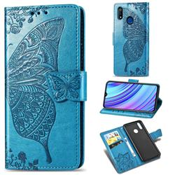 Embossing Mandala Flower Butterfly Leather Wallet Case for Oppo Realme 3 - Blue