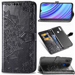 Embossing Imprint Mandala Flower Leather Wallet Case for Oppo Realme 3 - Black