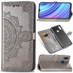 Embossing Imprint Mandala Flower Leather Wallet Case for Oppo Realme 3 - Gray