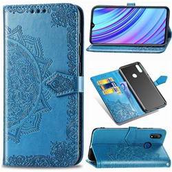 Embossing Imprint Mandala Flower Leather Wallet Case for Oppo Realme 3 - Blue