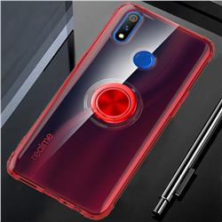 Anti-fall Invisible Press Bounce Ring Holder Phone Cover for Oppo Realme 3 Pro - Noble Red