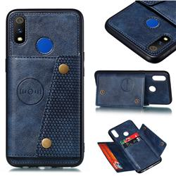 Retro Multifunction Card Slots Stand Leather Coated Phone Back Cover for Oppo Realme 3 Pro - Blue