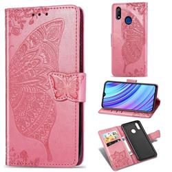 Embossing Mandala Flower Butterfly Leather Wallet Case for Oppo Realme 3 Pro - Pink