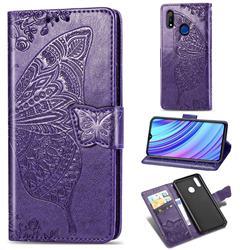 Embossing Mandala Flower Butterfly Leather Wallet Case for Oppo Realme 3 Pro - Dark Purple