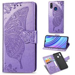 Embossing Mandala Flower Butterfly Leather Wallet Case for Oppo Realme 3 Pro - Light Purple