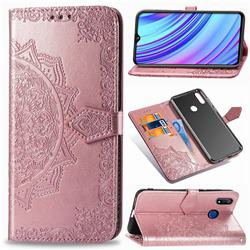 Embossing Imprint Mandala Flower Leather Wallet Case for Oppo Realme 3 Pro - Rose Gold