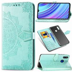 Embossing Imprint Mandala Flower Leather Wallet Case for Oppo Realme 3 Pro - Green