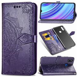 Embossing Imprint Mandala Flower Leather Wallet Case for Oppo Realme 3 Pro - Purple