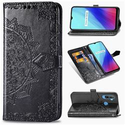 Embossing Imprint Mandala Flower Leather Wallet Case for Oppo Realme C3 - Black