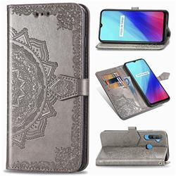 Embossing Imprint Mandala Flower Leather Wallet Case for Oppo Realme C3 - Gray