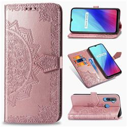 Embossing Imprint Mandala Flower Leather Wallet Case for Oppo Realme C3 - Rose Gold