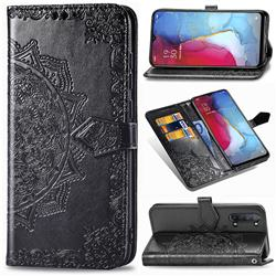 Embossing Imprint Mandala Flower Leather Wallet Case for Oppo Reno 3 - Black