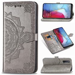 Embossing Imprint Mandala Flower Leather Wallet Case for Oppo Reno 3 - Gray