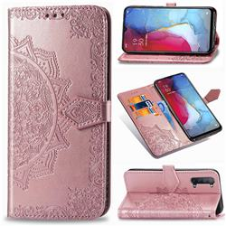 Embossing Imprint Mandala Flower Leather Wallet Case for Oppo Reno 3 - Rose Gold