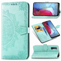 Embossing Imprint Mandala Flower Leather Wallet Case for Oppo Reno 3 - Green