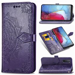 Embossing Imprint Mandala Flower Leather Wallet Case for Oppo Reno 3 - Purple