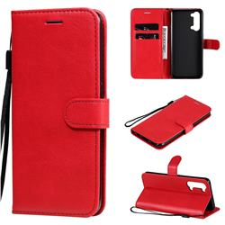 Retro Greek Classic Smooth PU Leather Wallet Phone Case for Oppo Reno 3 5G - Red