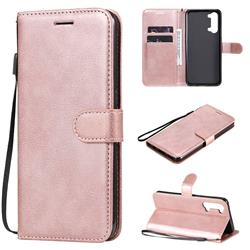Retro Greek Classic Smooth PU Leather Wallet Phone Case for Oppo Reno 3 5G - Rose Gold