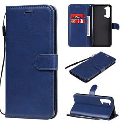 Retro Greek Classic Smooth PU Leather Wallet Phone Case for Oppo Reno 3 5G - Blue