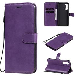 Retro Greek Classic Smooth PU Leather Wallet Phone Case for Oppo Reno 3 5G - Purple