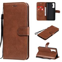 Retro Greek Classic Smooth PU Leather Wallet Phone Case for Oppo Reno 3 5G - Brown