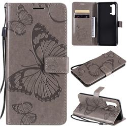 Embossing 3D Butterfly Leather Wallet Case for Oppo Reno 3 5G - Gray