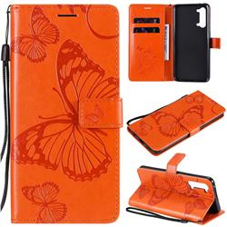 Embossing 3D Butterfly Leather Wallet Case for Oppo Reno 3 5G - Orange