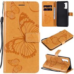 Embossing 3D Butterfly Leather Wallet Case for Oppo Reno 3 5G - Yellow