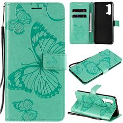 Embossing 3D Butterfly Leather Wallet Case for Oppo Reno 3 5G - Green