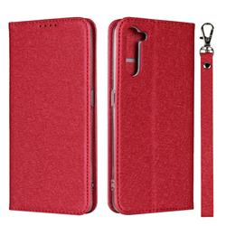 Ultra Slim Magnetic Automatic Suction Silk Lanyard Leather Flip Cover for Oppo Reno 3A - Red