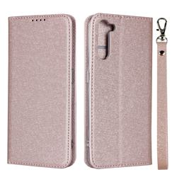 Ultra Slim Magnetic Automatic Suction Silk Lanyard Leather Flip Cover for Oppo Reno 3A - Rose Gold