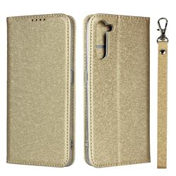 Ultra Slim Magnetic Automatic Suction Silk Lanyard Leather Flip Cover for Oppo Reno 3A - Golden