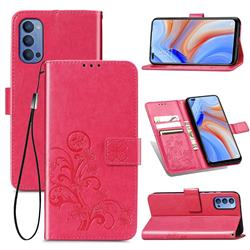 Embossing Imprint Four-Leaf Clover Leather Wallet Case for Oppo Reno4 - Rose Red